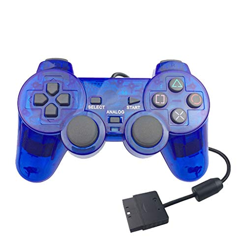 NOGOQU For Sony Playstation 2 Cover Clear Faceplate Transparent PS2 Controller Replacement Joystick (Blue Transparent Faceplates)