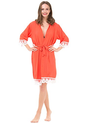 Mr & Mrs Right Women's Cotton Kimono Robe for Bride and Bridesmaid with Lace Trim Orange Red -