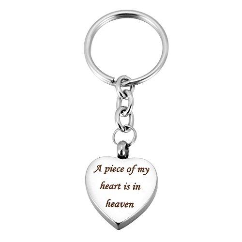 VALYRIA Stainless Steel Heart Memorial Keepsake Keychain Engraved