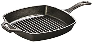 Lodge L8SGP3 Cast Iron Square Grill Pan, Pre-Seasoned, 10.5-inch