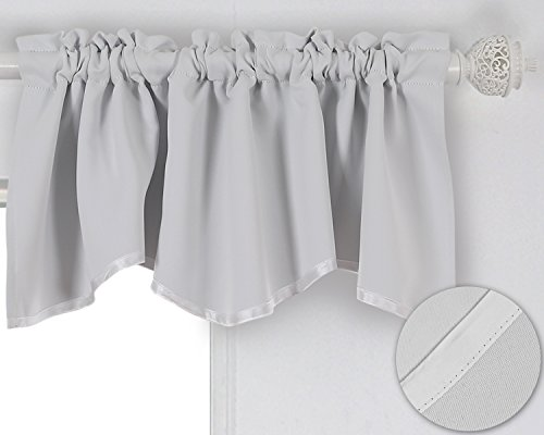 Deconovo Solid Color Short Curtains Scalloped Valance Rod Po