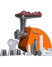 Elektrische vleesmolen, multifunctioneel, accessoires: vlees, groenten, worst, kebbé en tomatensap roestvrij staal, 1500 W, CE-goedgekeurd, Oursson - MG5530 (Oranje)