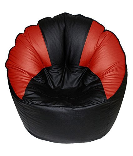 Red Smooth Leather - Cozy Signature Bean Bag Black & Red Without Bean Leather Drawing Room Smooth Leather Large Sofa Chair Bean Bag