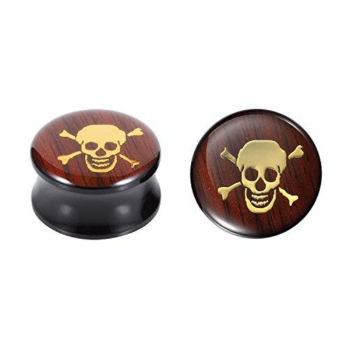 BodyJ4You Plugs 24mm Acrylic Skull Logo Double Flare Acrylic Ear Gauges 24mm Big Gauge (2 Pieces)