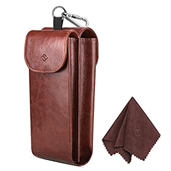 Fintie Double Glasses Case with Carabiner Hook, Portable Vegan Leather Eyeglass Case Anti-scratch Sunglasses Pouch (Brown)