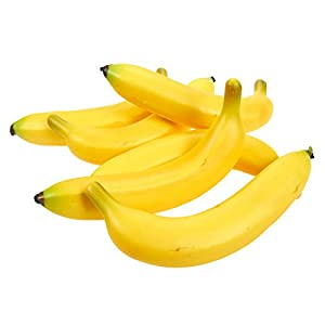 Juvale Set of 6 Individual Fake Fruit Bananas - Artificial Fruit Plastic Bananas for Still Life Paintings, Storefront Decoration, Kitchen Decor, Yellow, 8 x 3.7 x 1.5 Inches 70