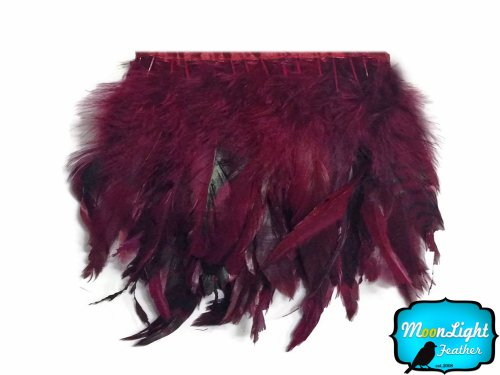 Rooster Feathers - 1 Yard Burgundy Chinchilla Rooster Saddle Feather Trim