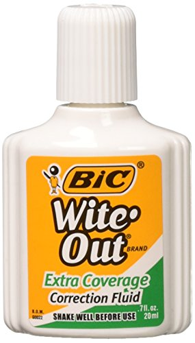 BIC Wite-Out Extra Coverage Correction Fluid, 0.7 ounces Bottle, White,(WOFEC12WE)