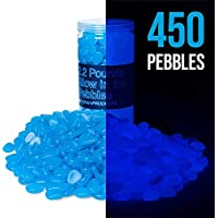 150PCS TR318 Glow in The Dark Garden Pebbles Stone for Walkway Yard and Decor DIY Decorative Gravel Stones in Blue