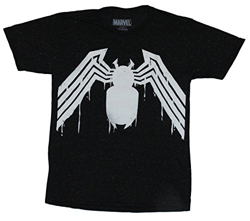 Spider-man Venom (Marvel Comics) Mens T-Shirt - Dripping Black White Costume (Extra Large) Black (Mens Black Spiderman Costume)
