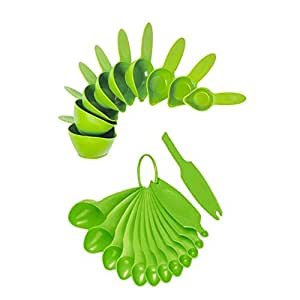22 Piece Green Apple Spoon And Cup Set, Plastic Material, Dishwasher Safe Care Instruction, 9 Inch Long x 6 Inch Wide x 4 Inch Deep, Essential Measuring Tools, Simple Look