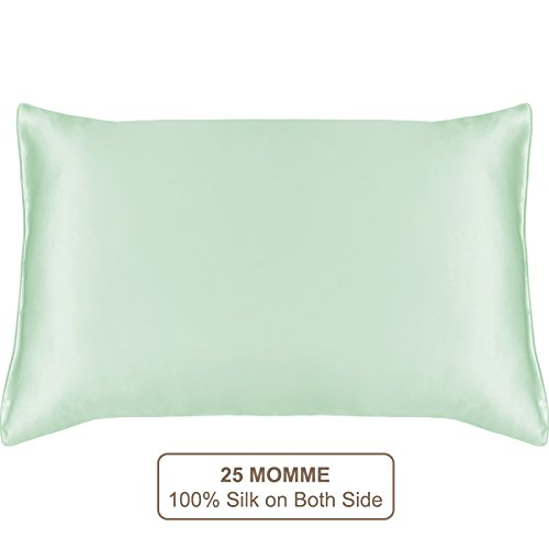 MYK SILK - 25 Momme Luxury Pure Mulberry Silk Pillowcase for Hair and Facial, Green Queen