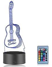 Linkax 3D LED Luz de Noche Ilusión óptica Lámpara de Mesa Luz iluminación 7 Colores de Control Remoto con Acrílico Plano & ABS Base & Cargador USB (Guitarra)