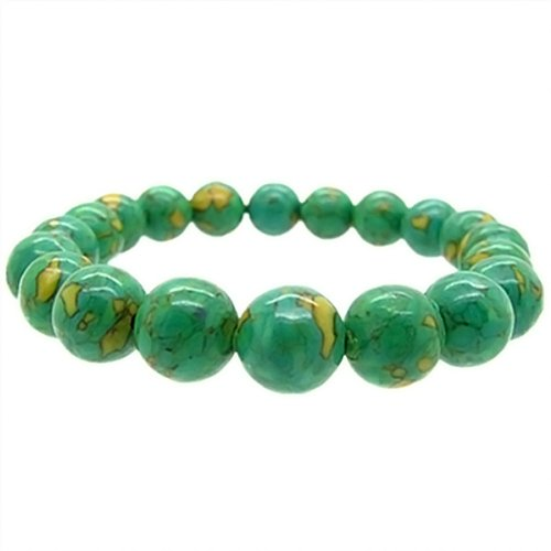 Green Beads Bracelet Turquoise (Stunning Gemstone Green Simulated Turquoise Round Bead Stretchy Bracelet 10mm)