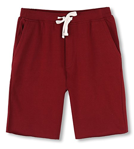 (HETHCODE Men's Casual Classic Fit Cotton Elastic Fleece Jogger Gym Shorts Wine M)