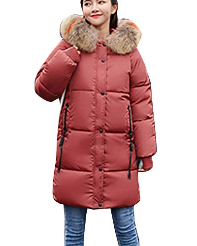 Warm Cappotti Piumini Invernali Windbreakers Parka Red1 Guiran Cappuccio Giacche Lunghe Con Donna Addensare fpnfSwAqv