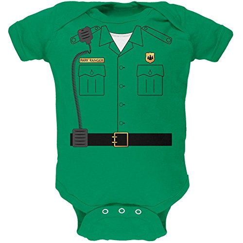 Old Glory Halloween Forest Park Ranger Costume Soft Baby One Piece Kelly Green 6 Month ()