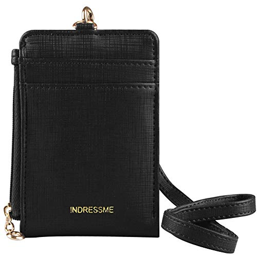 - Indressme Womens Cute Candy Color Bifold ID Badge Holder with Lanyard Wallet (Black)