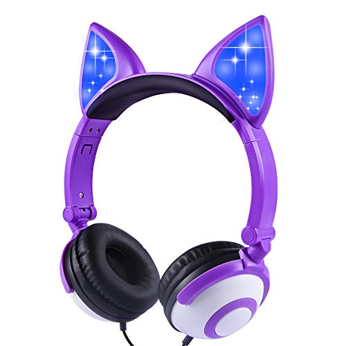 Kids Headphones Cat Ear for Girls Boys Tablet School Supplies Gifts, Wired Light Up Foldable Adjustable Kids Purple Headphones with Safe 85dB Volume Limited, Over Ear Headset for Travel Birthday Xmas