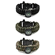 Paracord Bracelet 5-in-1 Mil-Spec 550 Outdoor Flint Firesteel with Striker Blade-Scraper Compass and Whistle, 7-strand unravels to 13-ft (90+ ft) usable cord for Personal-Protection Med-Alert Self-Defense Emergency-Preparedness Best EDC Survival Gear
