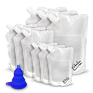 Porta Flasks Cruise Liquor Bag Kit Durable Reusable Flask Kit(3 x 32 Oz, 3 x 16 Oz, 3 x 8 Oz)