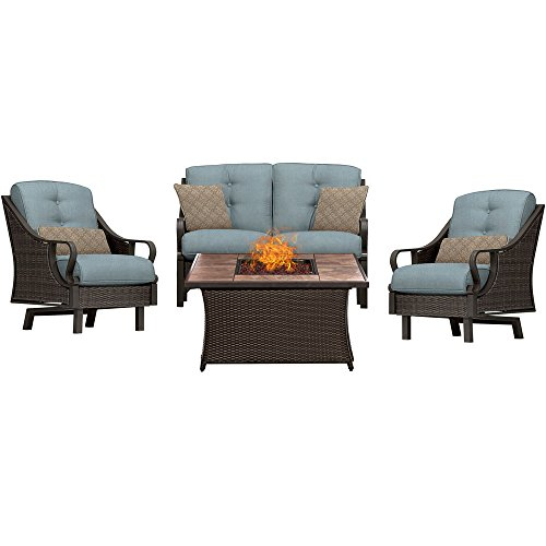 Hanover VEN4PCFP-BLU-TN Ventura 4-Piece Ocean Blue Outdoor Patio Fire Pit Chat Set, Stone Top