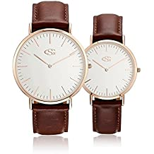 GEORGE · SMITH Classic His and Hers Couples Genuine Leather Band Quartz Wrist Watches (Rose Gold-Brown(Couples))