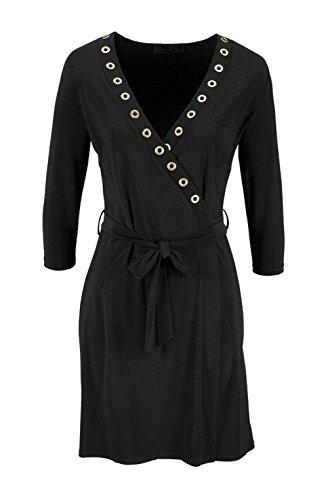 Melrose - Robe - Portefeuille - Manches Longues - Femme noir Schwarz