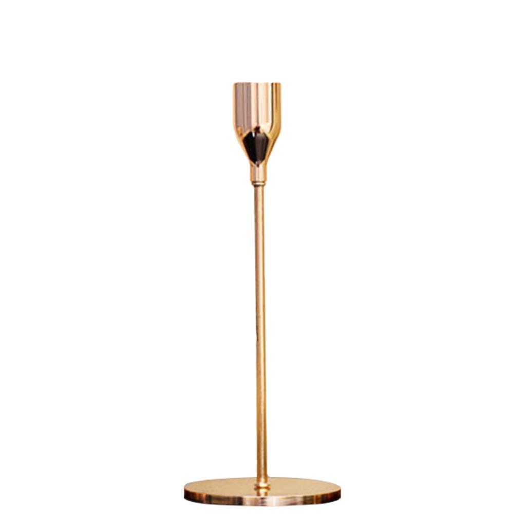 Mentin Bougeoir Table Fer forgé Or Simple Style Chandelier Décoration d'intérieur, Chandelier Or (S:8cmx24cm)