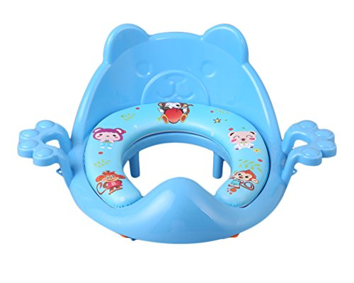 Nima's Blue soft potty training seat with handles for boys and girls | easy clean | for elongated toilet | free e-Book