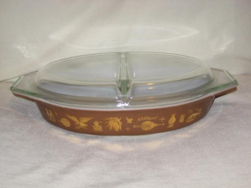 Vintage 1960's Pyrex Cinderella - Divided Oval 1 1/2 Quart Casserole w/Lid - Early American Americana