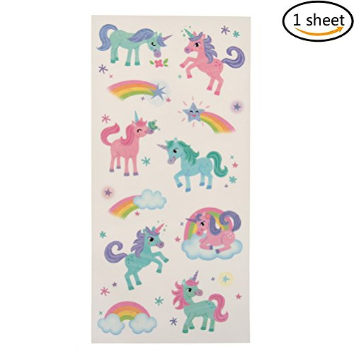 New 1 Sheet Unicorn Tattoo Stickers Cute Unicorn Water Transfer Temporary Tattoos for Party Festival supplier