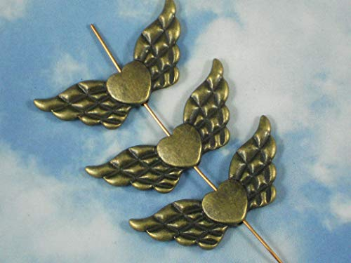 Pendant Jewelry Making 4 Winged Heart Beads 42mm Antiqued Bronze Tone Angel Fairy Wing Spacer ()
