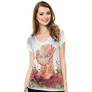 Sweet Gisele Southern Girl Tshirt Featuring Cowboy Hat and Cowgirl Boots V-Neck Tee Decorated with Rhinestones