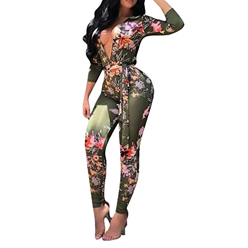 Women's Sexy Floral Deep V-Neck Long Sleeve Bodycon Long Pants Jumpsuit Rompers Green L
