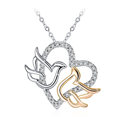 J.Rosée Jewelry Gifts Packing Fine Classic Sterling Silver Love Birds Doves Charm Cubic Zirconia Heart Pendant Necklace for Women