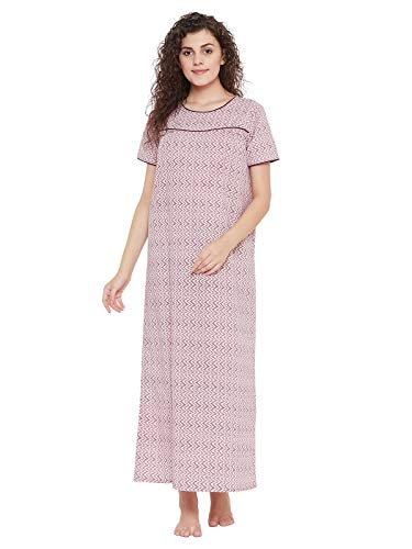 Clovia Women's Cotton Zig Zag Print Night Dress (NS1211P22_Pink_M)