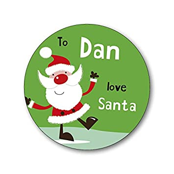 15 personalised christmas xmas gift labels stickers santa green add your own name