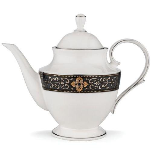 Lenox Vintage Jewel Platinum Banded Bone China Teapot