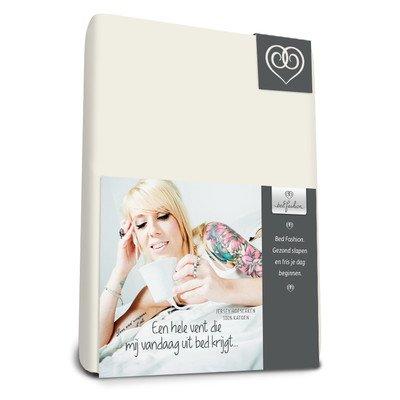 Bed-Fashion Topper Lenzuolo matrimoniale con angoli, in Jersey, bianco sporco, King, 180 x 210 cm 180x 210cm Van der Genugten Bedtextiel 1150180210065