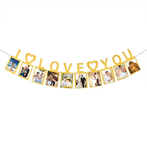 I Love You Photo Banner,Valentine's Day,Wedding Engaged,Bridal Shower, Bachelor Party Decoration Supplies, -