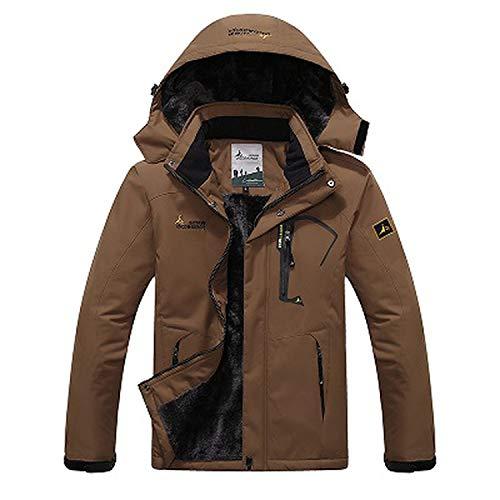 Men's Winter Inner Fleece Waterproof Jacket Hiking Camping Trekking Skiing Male Jackets VA063,Coffee,XXXL