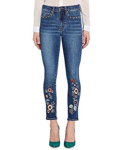 Buffalo David Bitton Faith Embroidered Studded Skinny Jeans (Dark Rain, 33) ()