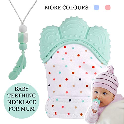 tuxepoc Baby Teething Mittens and Silicone Teething Necklace for mom, Self Soothing Pain Relief Mitt Stimulating,Stylish Chewable Necklace,Silicone Teether Toy,Unisex (Mint Green)