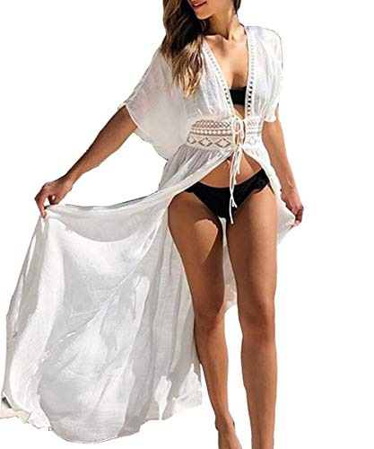 Extra Long Suit - Women Sexy Lace-up Crochet Open Front Swimsuit Beach Maxi Kimono Cover Ups(Lace-up White-16)