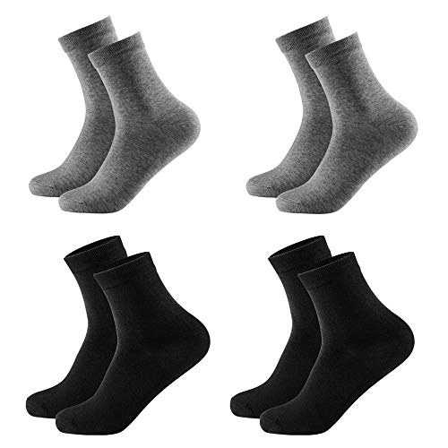 (Cotton Bamboo Blend Women Socks Quarter Length Socks Athletic Odor-free Set of 4 Pairs Size 5-8 (Black+Grey))