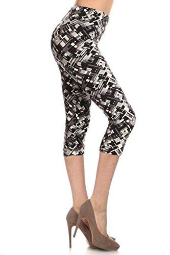 Leggings Depot Women's Plus Size High Waisted Best Selling Capri Print Leggings (Achromatic (Designer Capri Pants)