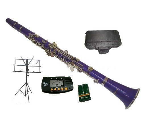 Merano B Flat Purple / Silver Clarinet with Case+MouthPiece+Metro Tuner+Black Music Stand+11 Reeds