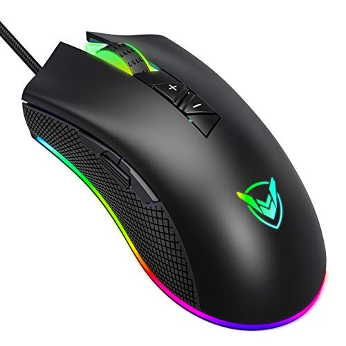 PICTEK Gaming Mouse Wired, 10000 DPI, 8 Programmable Buttons, 16.8 Million RGB Backlit, Ergonomic Comfortable Grip Optical Computer PC Gaming Mice with Fire Button - Upgraded PMW3325 Sensor, Black - Mouse Black Pc