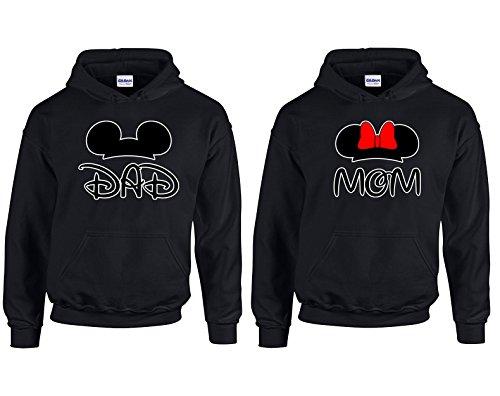 Disney Mickey Dad Minnie Mom Couple Most Popular Hoodie Hooded Sweatshirt 1(Black-Black,Men-M/Women-XL)